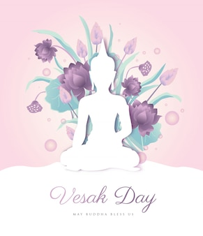 Vesak day theme design with soft tone color scheme of buddha surrounded by lotus