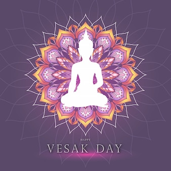 Vesak day theme graphic with buddha and colorful mandala