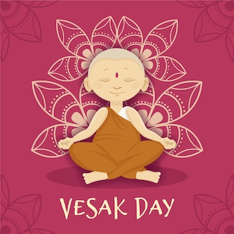 Vesak day with monk