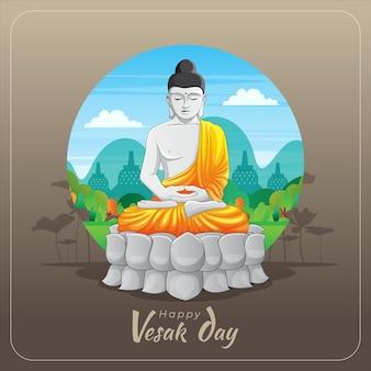 Vesak greeting card with meditating buddha statue
