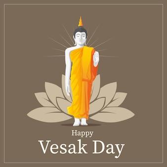Vesak greeting card with standing buddha