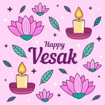 Рисованной иллюстрации с элементами vesak