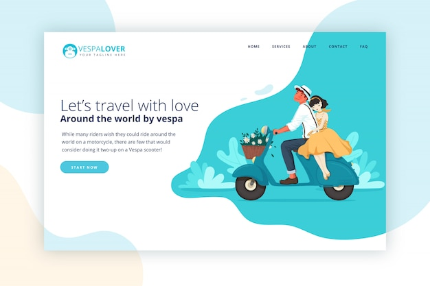 Vespa couple traveling landing page