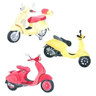 Vespa motorcycle watercolor collection on white background