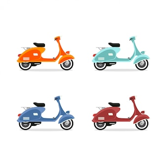 Vespa set Premium Vector