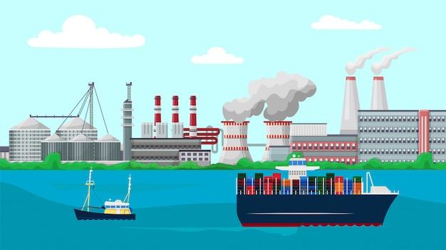 Vessels container ship sail past factory plant buildings