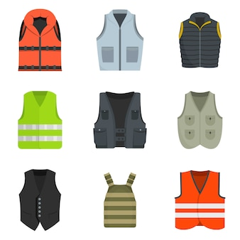 Vest waistcoat jacket suit icons set vector isolated