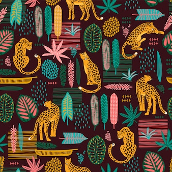 Vestor seamless pattern with leopards