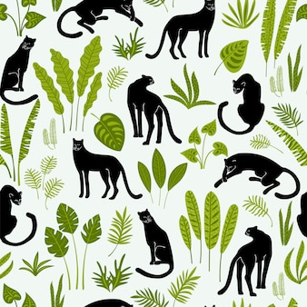 Vestor seamless pattern with panthers and tropical leaves.