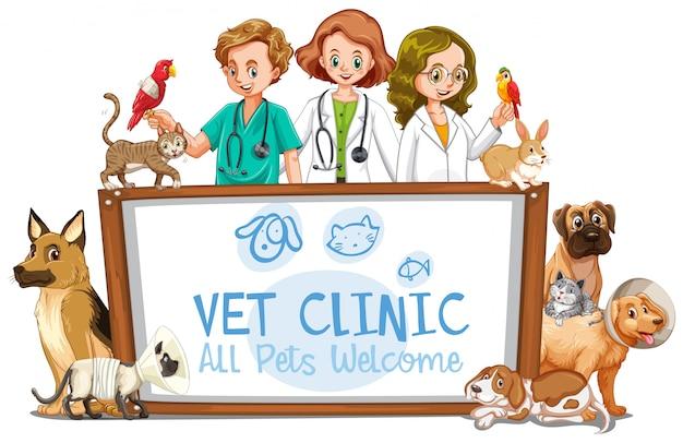 Vet clinic banner on white background
