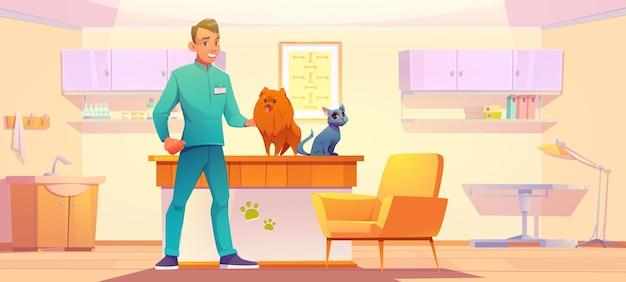 Armadio della clinica veterinaria con animali e medico veterinario uomo con cane e gatto nel suo ufficio animali medi...