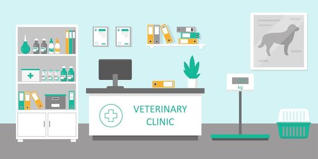 フラットスタイルの獣医クリニックの受付室または病院のホールのインテリア
