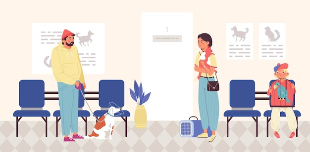 Vet clinic with clients waiting for medical help flat vector illustration