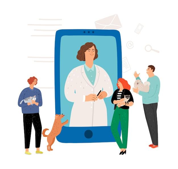 Консультация ветеринара онлайн. ветеринарная концепция. владельцы домашних животных и ветеринарный врач.