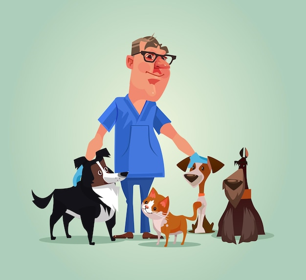 Vet doctor character with cats and dogs cartoon illustration