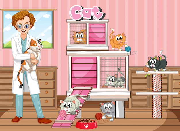 Vet and many cats in clinic