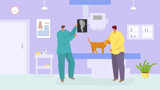 Ветеринарная медицинская помощь собаке векторная иллюстрация домашнее животное в ветеринарной клинике лечение домашних ...
