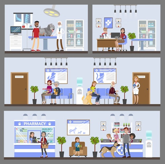 Vetclinic building interior with patients and owners.