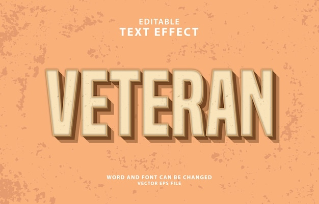 Ветеран 3d редактируемый старинный текстовый эффект eps