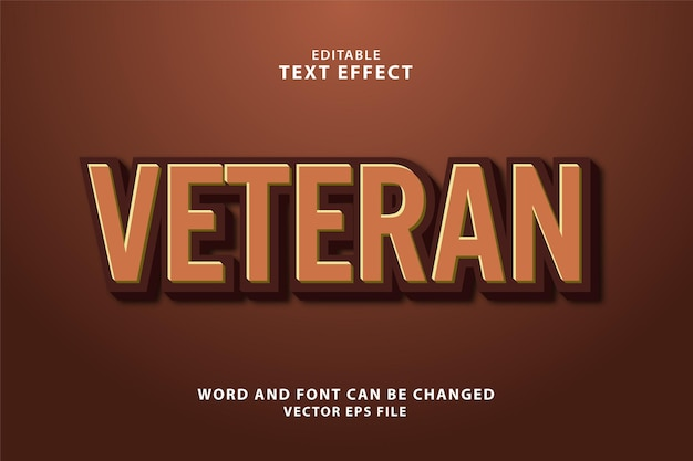 Редактируемый текстовый эффект ветеран 3d eps