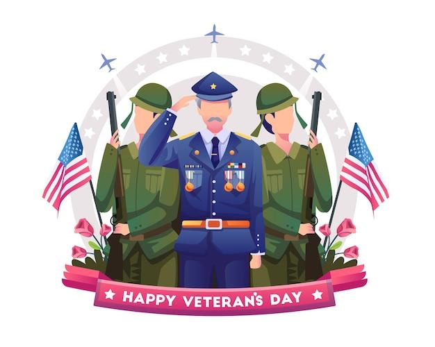 재향 군인과 재향 군인은 재향 군인의 날을 기념하고 축하합니다. 평면 벡터 일러스트 레이 션