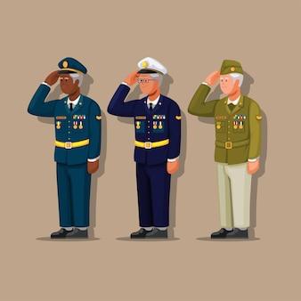 재향 군인의 날 만화 일러스트 벡터에 대 한 베테랑 육군 군인 유니폼 문자 집합 기호