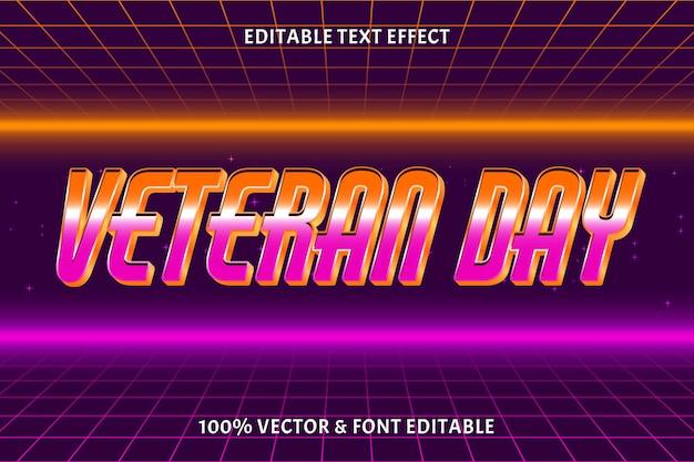 Редактируемый текстовый эффект ветеранского дня в 3-х мерном стиле ретро