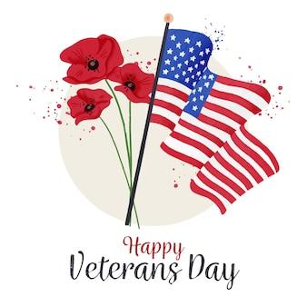 День ветеранов с флагами и цветами