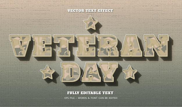 현대적인 스타일의 편집 가능한 텍스트 효과가 있는 재향 군인의 날