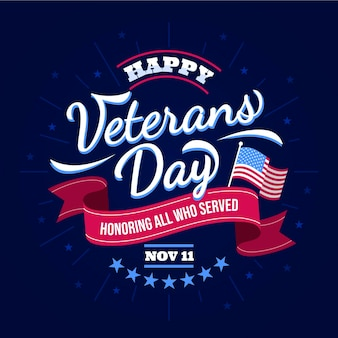 Veteran day with ribbon lettering