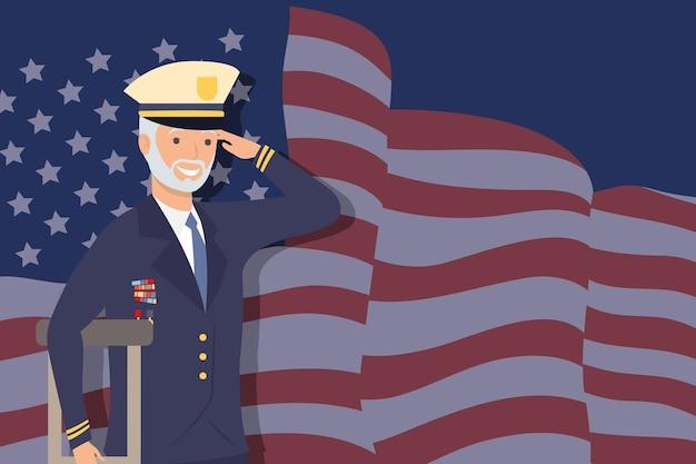 Veteran man with crutch