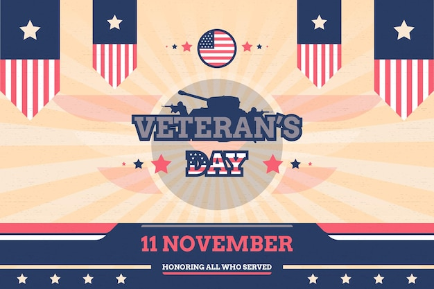 Veteran's day background with flag and tank vintage style vector design