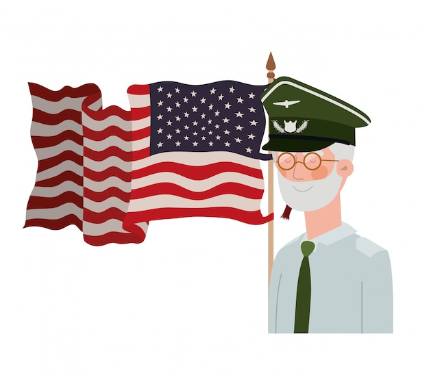 Veteran war old man with flag of united states
