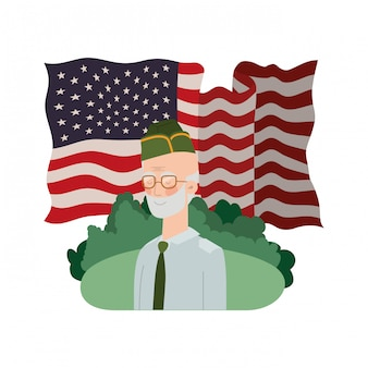Veteran war old man with landscape and united states flag