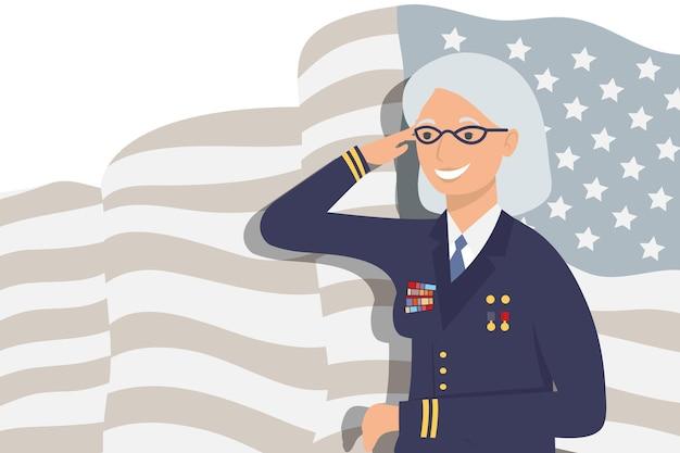 Veteran woman with crutch