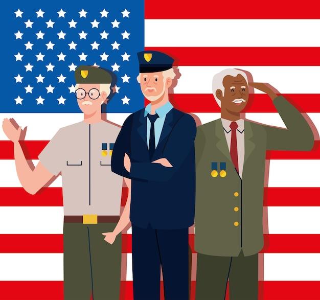 退役軍人とアメリカの国旗