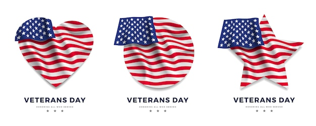 Veterans day. american flag in shape of heart, star and circle.