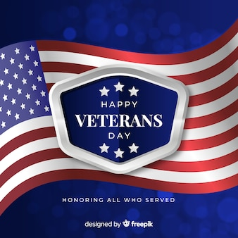 Veterans day background with realistic flag