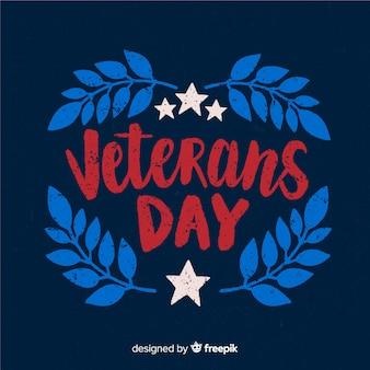 赤と青の文字で退役軍人の日の背景
