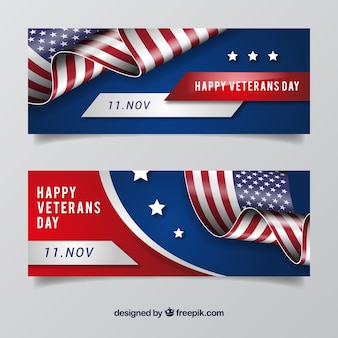 Veterans day badge banners