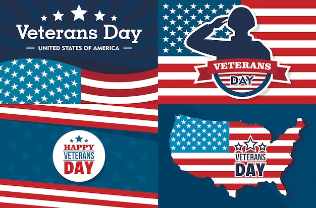 Veterans day banner set. flat illustration of veterans day