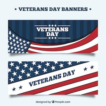 Баннеры дня ветеранов с флагами