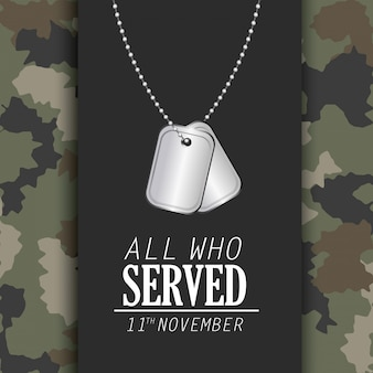 Veterans day celebration and memoral necklace