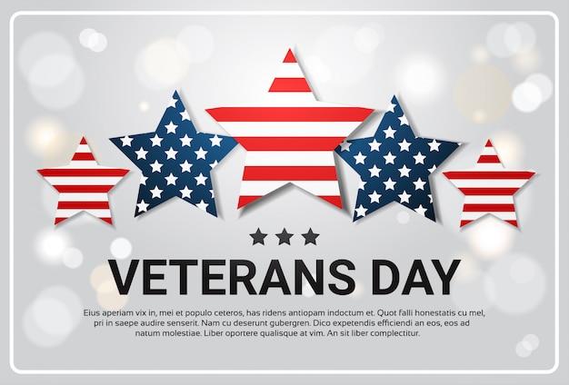 Veterans day celebration national american holiday banner over usa flag stars