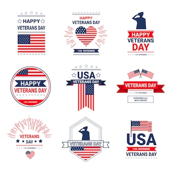 Veterans day celebration national american holiday icons set, collection of greeting card with usa flag