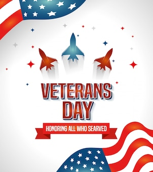 Veterans day celebration with airplanes and flag