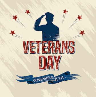 Veterans day celebration with military and stars