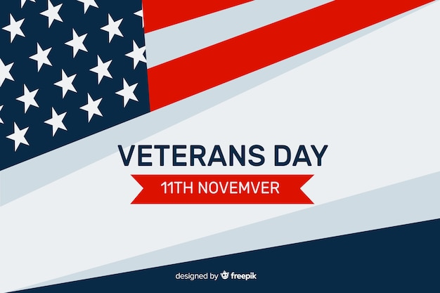 Veterans day concept in flat design