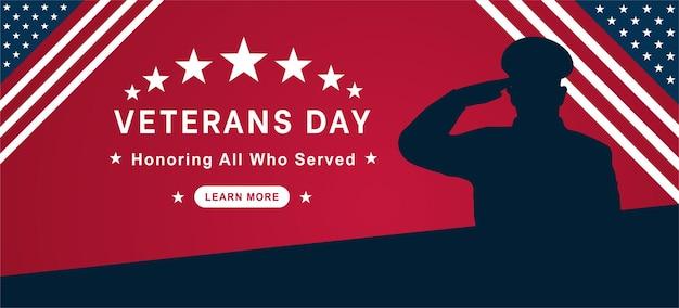 Veterans day flat vector design honoring all who served november 11