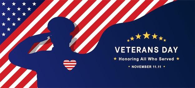 День ветеранов плоский векторный дизайн в честь всех, кто служил 11 ноября
